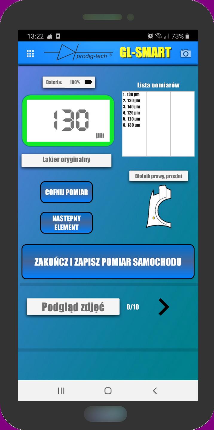 Aplikacja GL SMART do miernika lakieru z serii smart